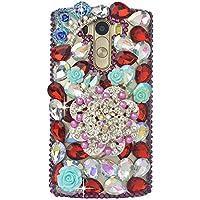 LG G3Custodia, LG G3Bling case-spritech (TM)–Decorazione a mano colorato strass farfalla con decorazione floreale 3d custodia rigida trasparente per LG G32014released