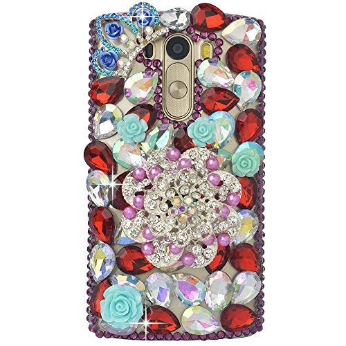 alität Strass Schutzhülle LG Leon/LG Tribute 2/C40 Hülle Case Cover Bunte PC Material Muster Stylisches Designer Case echten Kristallen Handy Tasche Etui ()