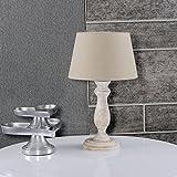 Tischleuchte Shabby chic Beige Weiß Gewischt 831745558 Lampenschirm Leinen Dunkel Natur