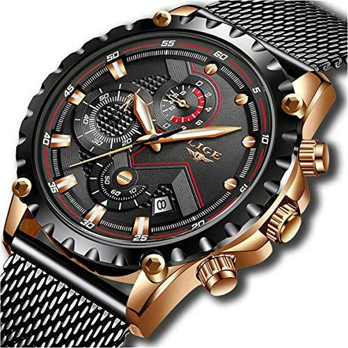 LIGE Orologi da Uomo Cronografo Impermeabile Acciaio Inossidabile Orologio da polso