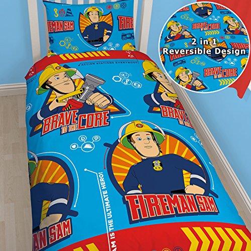 Feuerwehrmann Sam Umkehrbare Bettwäsche Bettdecke Kissen, Decke für Jungen, Motiv Wendebettwäsche Official Kids World Bettwäsche-Set für Einzelbetten