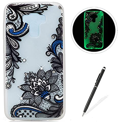 ASUS ZenFone 3 Zoom (ZE553KL) Case,Luminous effect Silicone case [Drop Protection],MAGQI Ultra Slim Soft Gel TPU Transparent Shell [Anti-Scratch][Shockproof][with Free Black Stylus] Beautiful Flower Girl Glitter Bling Crystal Stone Series Pattern Design For ASUS ZenFone 3 Zoom (ZE553KL) -
