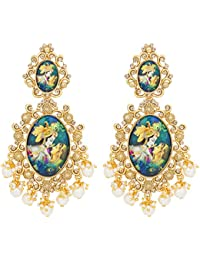 The Luxor Traditional Gold Plated Lord Radha-Krishna Temple Jewellery Dangler Earring For Women And Girls-ER-1822
