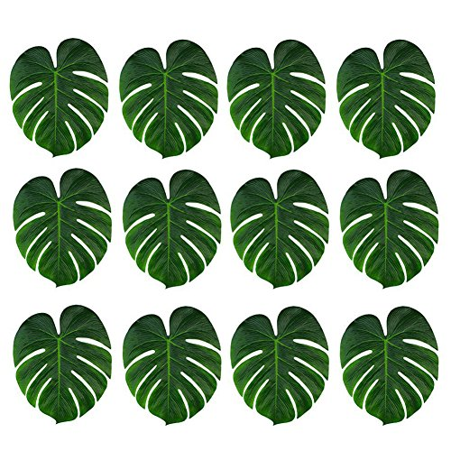 tropische Blätter 12 stk 20*18 cm Palmenblätter Hawaiian Luau Party Simulation Tropical Monstera Pflanze Blätter für Home Kitchen Safari Jungle Beach Theme Geburtstag Party Dekorationen Tischdekoration ()