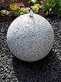 Kugelbrunnen 30 cm LED-Bel. Edelstahl Granit weiß Komplettset Springbrunnen Gartenbrunnen