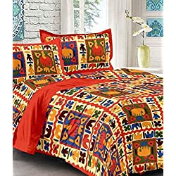 sanganeri print cotton bedsheet for double bed with 2 zipper pillow covers