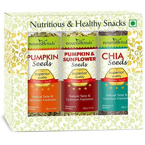 Nourish Vitals Diwali Gift Box - Roasted Pumpkin + Pumpkin & Sunflower + Chia Seeds (Superior Quality) Gift Box  available at amazon for Rs.1204