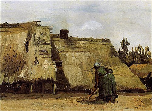 Vincent Van Gogh - Cottage with Woman Digging, 1885 - Extra Large - Archival Matte - Brown Frame