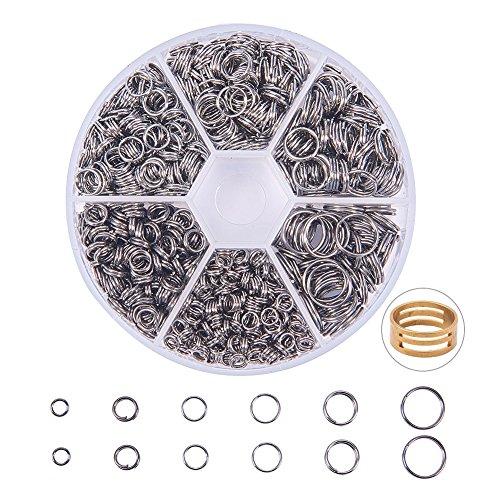 PandaHall Elite - Set von 920pcs Doppelringe Eisenringe Doppelschlinge Ring Spaltringe Ringe Jump Ringe Sets für Schmuck Design, hohe Qualität, Gunmetal, 4~10mm (Jump-ring-schmuck)