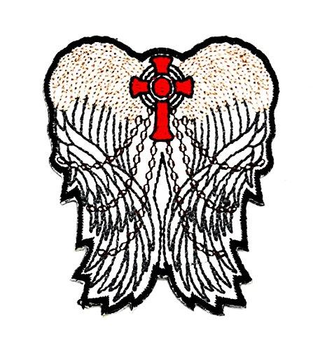 Jesus Engel Flügel Weiß Feder Kette Lady Wolfskopf-Motiv Patch Hand bestickt und Bügelbild Symbol Jacke T-Shirt patches aufnäher Zubehör (Schnelle Und Einfache Halloween-kostüme Für Damen)