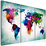 murando - Weltkarte mit Kork Rückwand 120x80 cm - Leinwandbilder - Fertig Aufgespannt - Pinnwand - 3 Teilig - Wandbilder XXL - Kunstdrucke - Wandbild - Welt Landkarte Karte k-A-0006-p-h