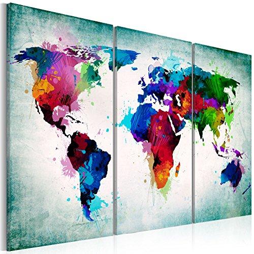 murando - Bilder Weltkarte 120x80 cm Vlies Leinwandbild 3 Teilig Kunstdruck modern Wandbilder XXL Wanddekoration Design Wand Bild - Abstrakt bunt Landkarte Reise k-A-0006-b-h -