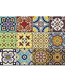 Set de 24 piezas de pegatinas de azulejos tradicionales de Talavera para el baño y la cocina. Pegatinas fáciles de aplicar para decoración de la casa de 15,24 x 15,24 cm