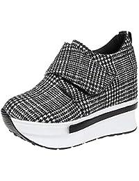 fa082eac0cfae3 Damen Wedges mit Keilabsatz Sneakers Mode Freizeitschuhen Dicke Boden  Plateauschuhe Outdoor gemütlich Laufschuhe Grau…