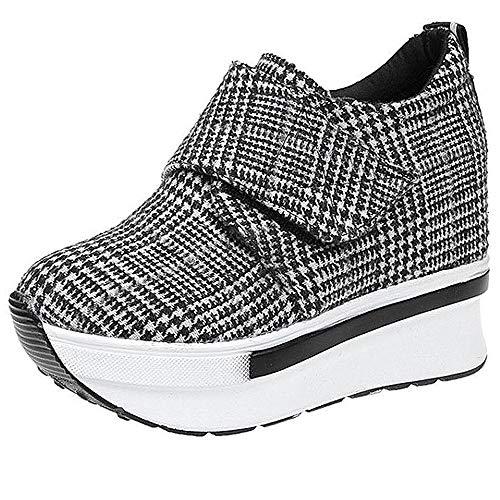 Damen Wedges mit Keilabsatz Sneakers Mode Freizeitschuhen Dicke Boden Plateauschuhe Outdoor gemütlich Laufschuhe Grau Schwarz