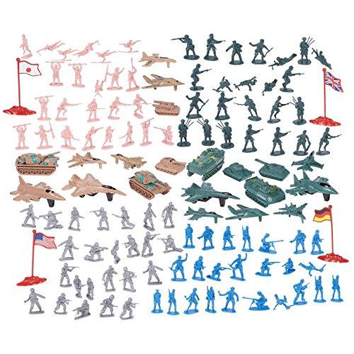 Juvale 124 - Figuras Militares y Accesorios, diseño de Soldados del ejército de Juguete en 4 Colores, Juego de la Segunda Guerra Mundial con 4 Banderas, Aviones y Tanques
