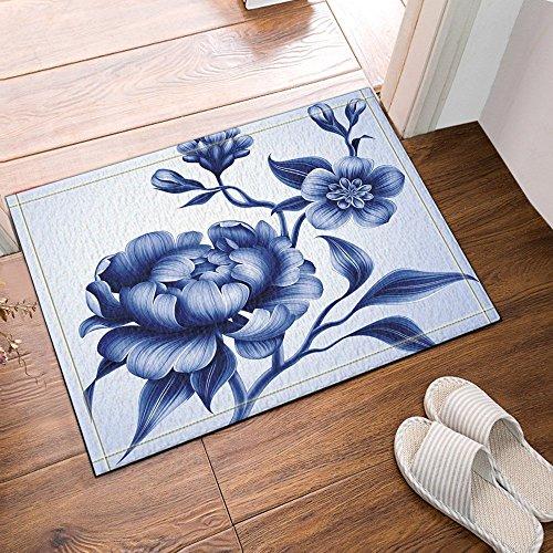 Nyngei Bleu Fleurs Cosmos en Blanc Tapis de bain Tapis de bain Tapis de bain antidérapant Tapis de bain 60X40CM po