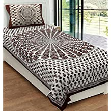 Urban Magic® 104 TC 100% Cotton Single BEDSHEET with 1 Pillow Cover - Blue (Brown)