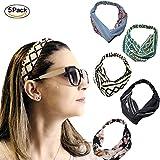 AAPLUS Lot de 5 x Mode Serre-Tête Bandeaux de Cheveux Couleur élastiques à Cheveux Turban Tissu Foulard Wrap Headwrap Accessoire de Coiffeur pour Femme Fille Elastic Headbands