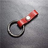 Trousseau Taille Cuir Fait Main Porte-Clés De Voiture Voiture Clé De Métal Suspension Simple Mode Retro,08