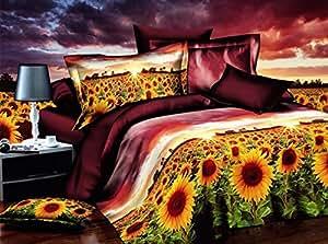 155x200 cm 3D Microfaser Bettwäsche Bettbezüge Bettwäschegarnituren mit dem Bettlaken 4tlg schöne Farben und Muster FSH260