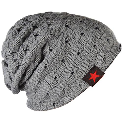 SODIAL (R) hombres tejida de punto de la gorrita reversible holgado tapa del craneo grueso de invierno Gorra X085 - Gris claro
