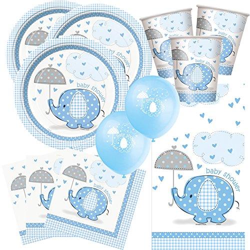 arty Set Baby Elefant blau - Babyparty - Teller, Becher, Servietten, Tischdecke, Luftballons ()