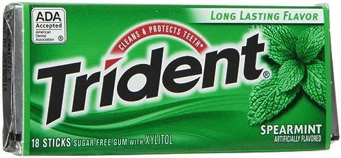 Trident Sugar Free Gum Spearmint 18 Stick (Pack Of 2)