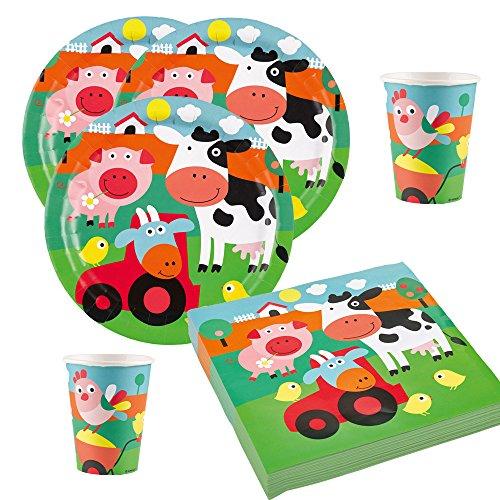 36-teiliges Party-Set Farm Fun - Bauernhof - Tiere - Teller Becher Servietten für 8 Kinder