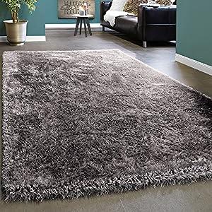 Paco Home Edler Teppich Shaggy Hochflor Einfarbig Flauschig Glänzend In Grau Hellgrau, Grösse:80x150 cm