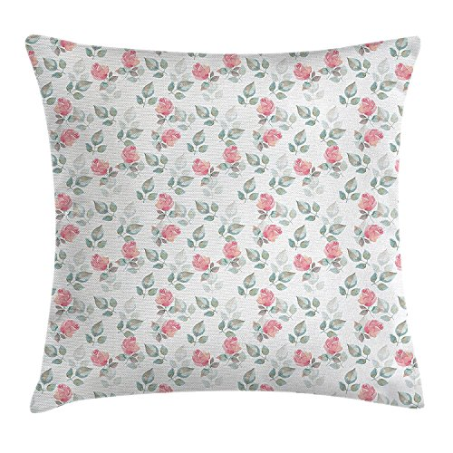 Free-shipping Floral Throw Pillow Cushion Cover, Rose Petals Blossoms Romantic Plants Wedding Love Hazy Watercolor Print, Decorative Square Accent Pillow Case,Pale Pink Turquoise 20X20 inches (Sham Blossom)