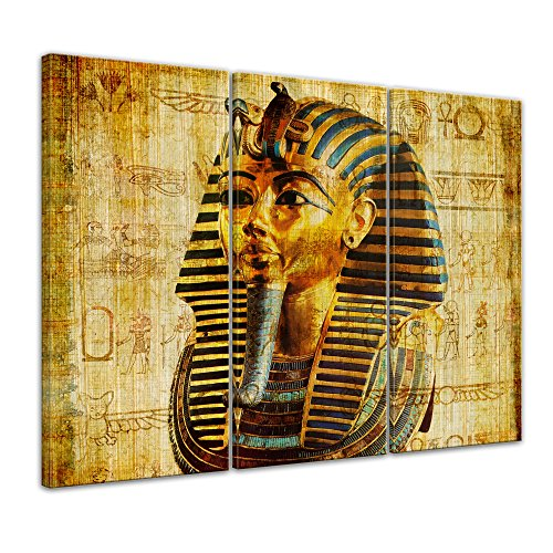 Kunstdruck - Pharao - Ägypten - Bild auf Leinwand - 90 x 60 cm 3tlg - Leinwandbilder - Bilder als Leinwanddruck - Städte & Kulturen - Afrika - altes Ägypten ()
