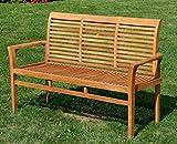 ASS TEAK Design Gartenbank 150cm Parkbank Sitzbank 3-Sitzer Bank Gartenmöbel Holz sehr robust Modell: JAV-ALPEN von