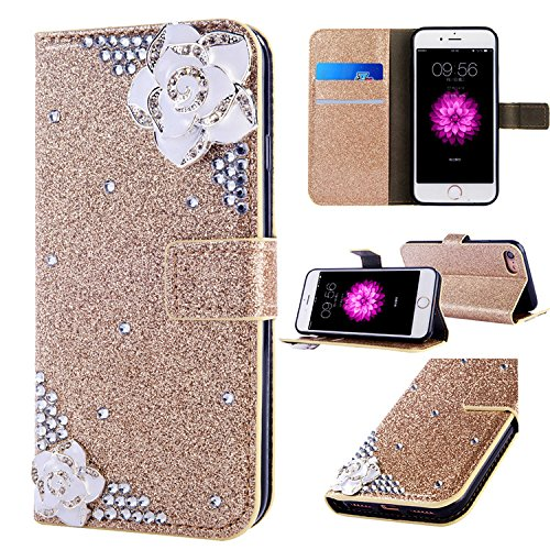 iPhone SE Leather Case,iPhone 5S Flip Wallet Case,iPhone SE Cover,Cool 3D Rose Bling Glitter Diamond Pattern Leather Stand Function Flip Kickstand Magnetic Book Wallet with Card Slot Holder Protective Cover Case for iPhone 5S/SE/5