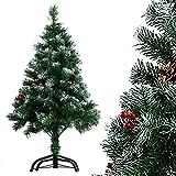 willkey Künstlicher Weihnachtsbaum Tannenbaum Spitzen mit Ständer und Schnee Tannenzapfen Deko für Weihnachten Dekoration (120 cm)
