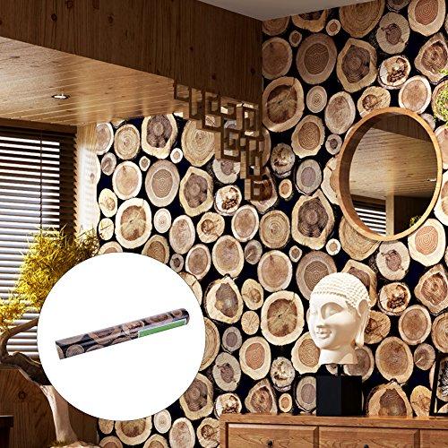 Tapete Vliestapete Fototapete in Holzoptik 53*1000cm Wandtapete Wandbilder Wandbild LianLe (Braun)