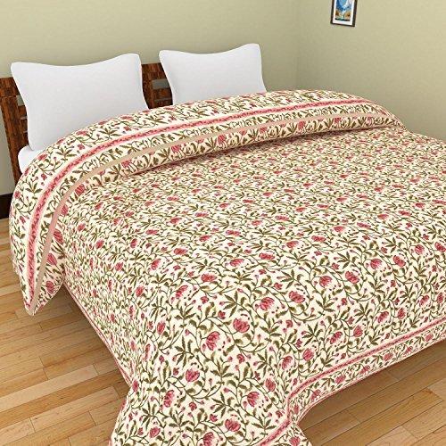 Rajkruti jaipuri razai / rajai double bed cotton rajasthani sanganeri floral print quilt blanket (90 Inches x 104 Inches,QT009)