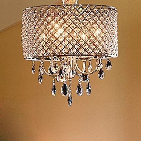 OOFAY LIGHT®Elegante moderno 4 - luz lámparas colgantes, lámpara lgiht con gotas de cristal en pluma redonda de sala, comedor, dormitorio