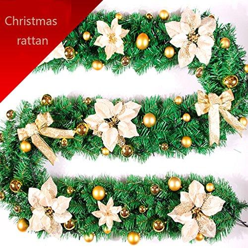Weihnachten Rattan 2,7 m Verschlüsselung Weihnachtsbaum Ornamente Set Weihnachtskranz Hängende Ornamente ( Color : Gold ) -