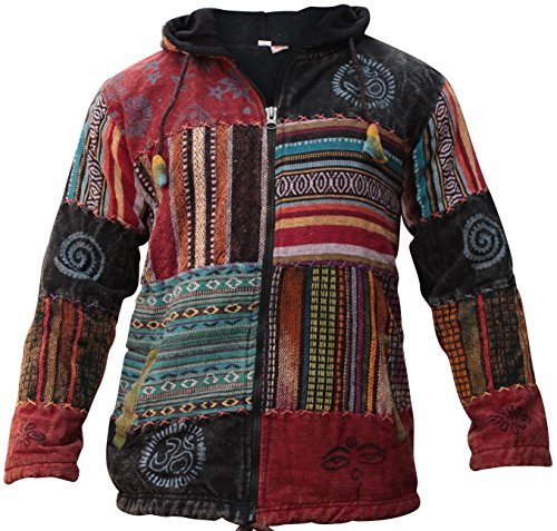 Shopoholic Fashion Unisex Patchwork Fest Hippie Kapuzenjacke - Mehrfarbig, XX-Large (Patchwork Hippie)