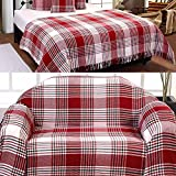 Homescapes Large Red Tartan Throw 90 x 100 Inches or 228cm x 254cm, 100% Cotton Sofa throw for Most 3 Seater Settees and Sofas