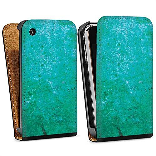 Apple iPhone 4 Housse Étui Silicone Coque Protection Rouille Structure Bleu rouille Sac Downflip noir