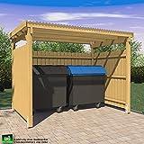 ghs Unterstand 3x2 mit 3-seitigem Wetterschutz, Überdachung für Gartengeräte + Mülltonnen
