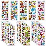 3D Aufkleber für Kinder Kleinkinder Lebhaft Relief Kinder Aufkleber 24 Verschiedene Blätter über 550 Farbig Aufkleber 3D für Jungen Mädchen Lehrer, inkl. Zahlen Buchstaben Dinosaurier Autos usw