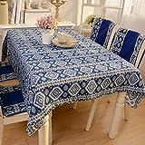 ZHUOXBU Luxus Exotische Südostasien Nationalen Stil Baumwolle und Leinen Made Flecken beständig Tischdecken für rechteckige, quadratische und Runde Tische, 140cm*220cm