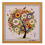 #2: Rrimin DIY Handmade Painting Craft Cross Stitch Four Season Colorful Tree Home Decor 44*44 cm (Summer)