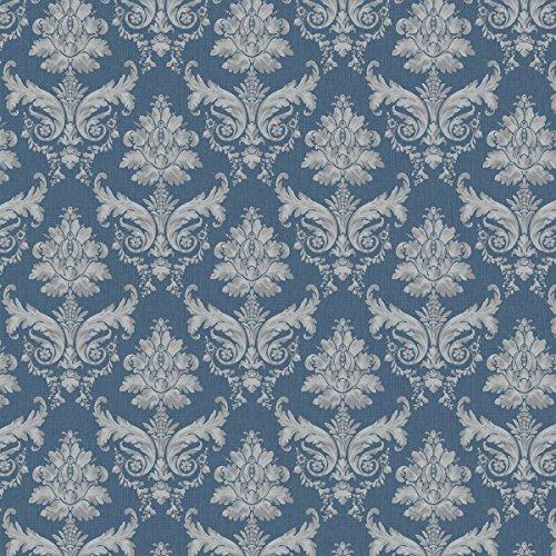Blätter Blau-tapeten (MyTinyWorld 5 Stück Puppenhaus grau auf blau Blatt Damast Tapete Blätter)