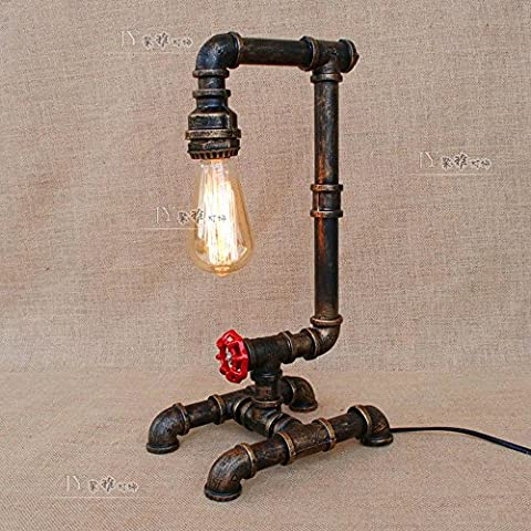 XCH Dazzling DL Lampe de table Lampe à eau réfléchissante industrielle E27 Lampe de bureau à 1 lumière Lampe d'appoint avec vanne rouge et interrupteur à bouton-poussoir pour rideau de cabine Bar Décoration intérieure