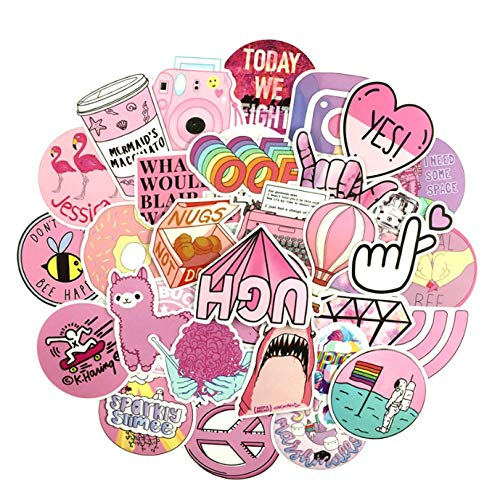 53PCS Cartoon Pink Graffiti PVC Waterproof Girl Sticker