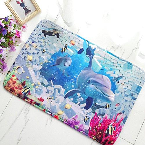 WANG-shunlida Indoor Water saugfähig und rutschfeste Bad Fußmatte für Anime und Anime, 40 x 60 cm, Dolphin